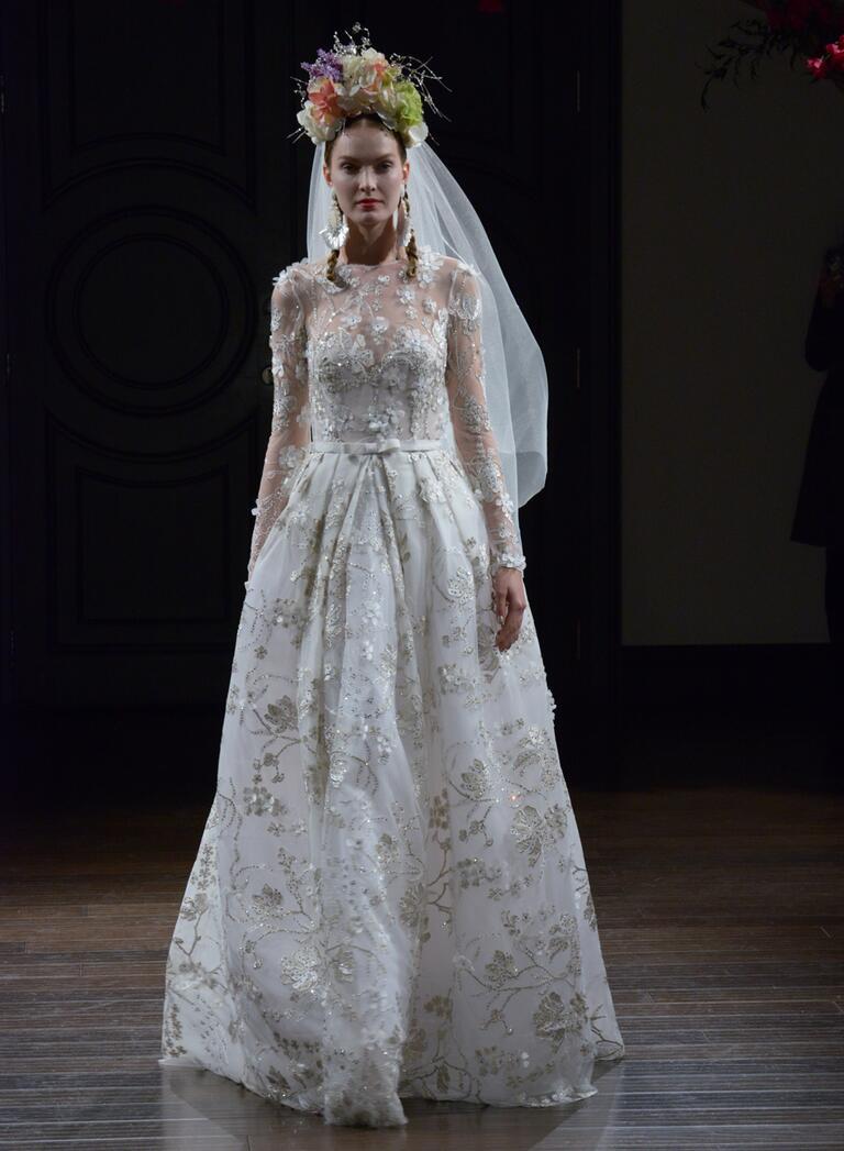 Naeem Khan Fall 2016 long sleeve a-line wedding dress with embellished floral appliqués
