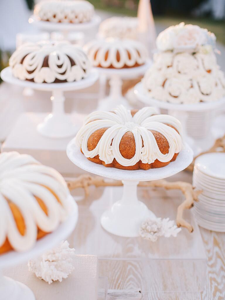 Bundt cake dessert bar idea for fun wedding reception food