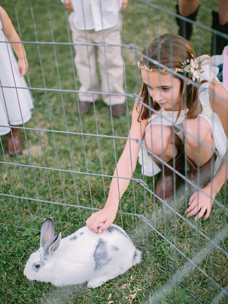 Petting zoo idea for kids at a wedding reception