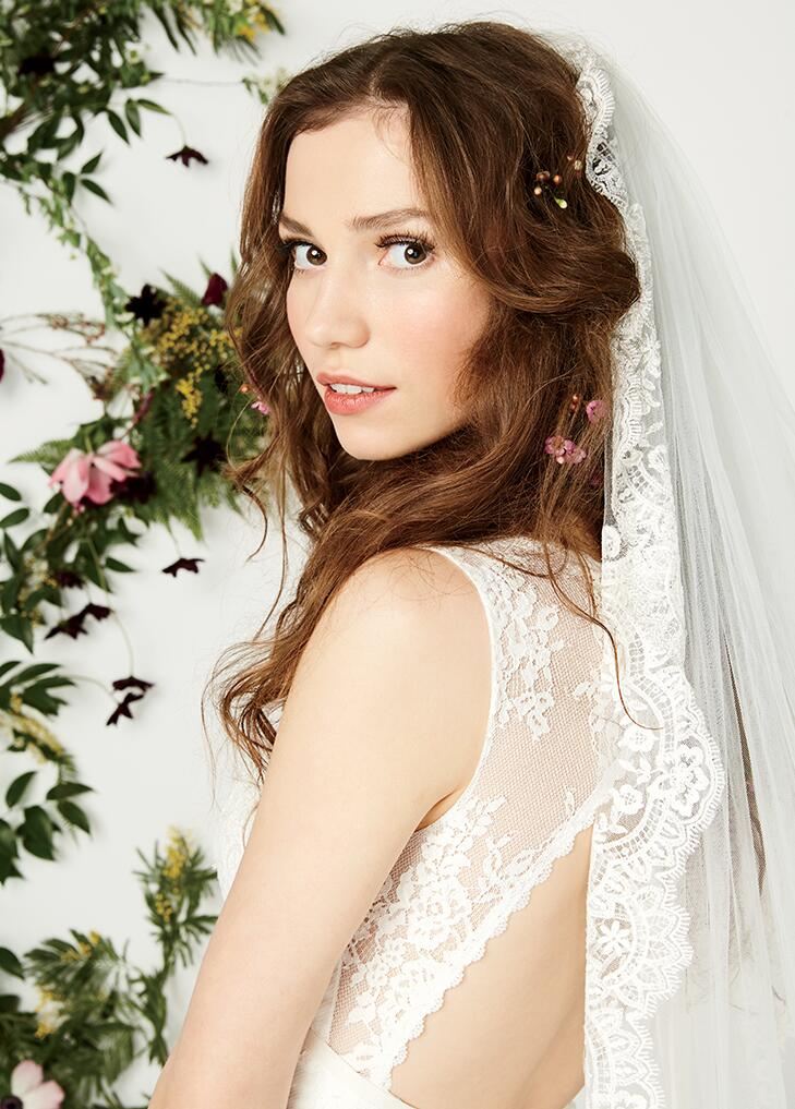 Close up beauty shot of model in David's Bridal gown