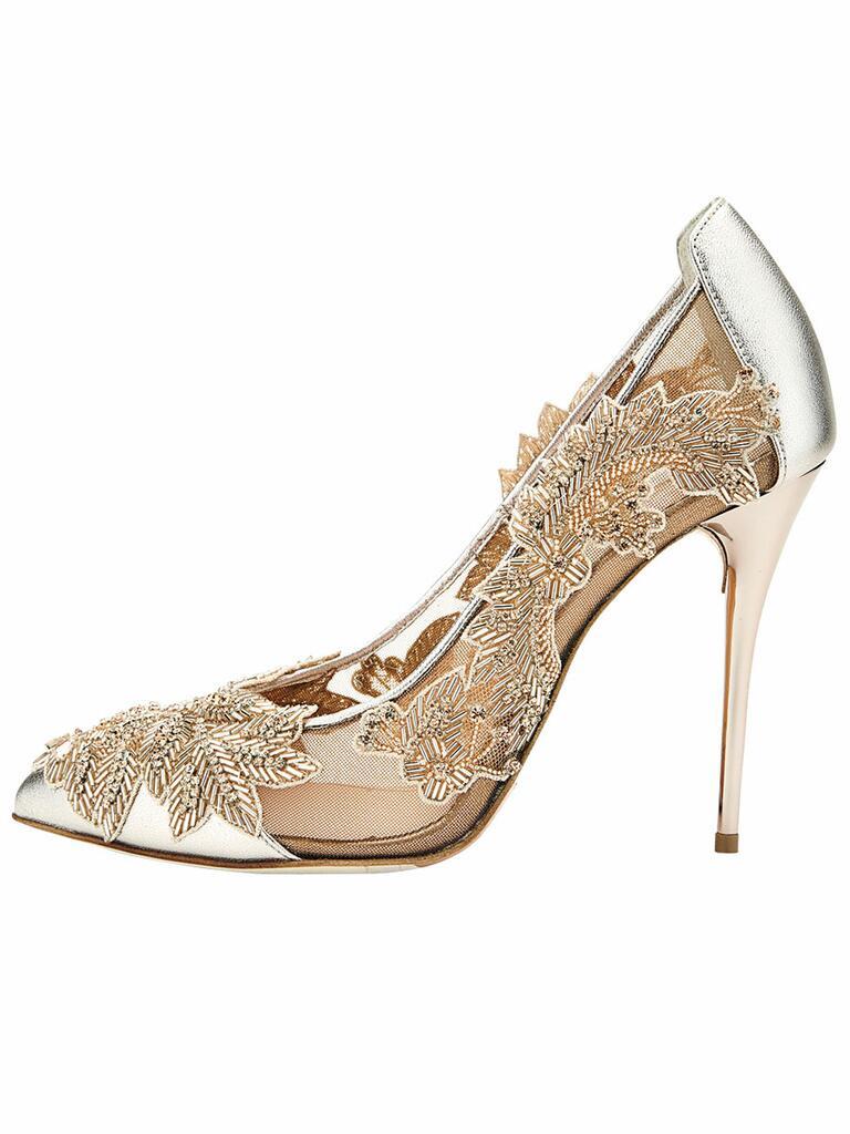 gold Oscar de la Renta shoes