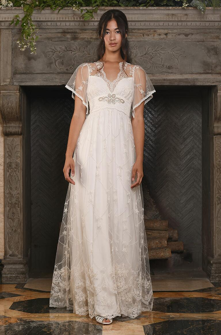 Claire Pettibone wedding gown with empire waist and lace sleeves for Fall 2017