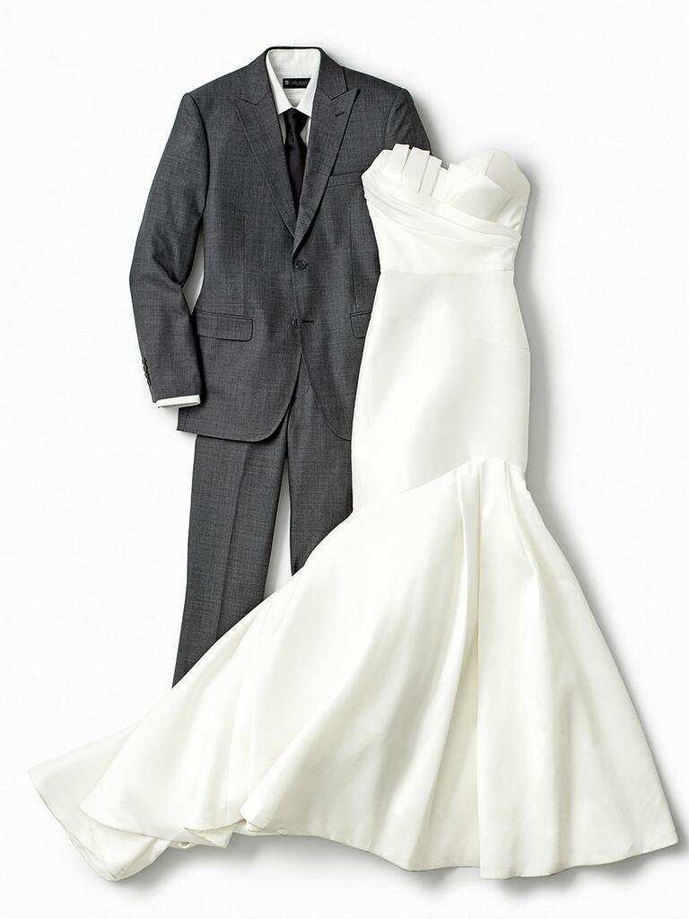 mermaid wedding dress and gray suit