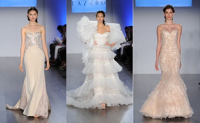 Wedding Dresses With Little Color : Lazaro spring wedding dresses feature unique colors