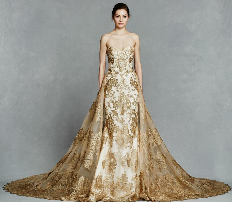 Kelly Faetanini Spring 2017 strapless sheath wedding dress with gold embroidery