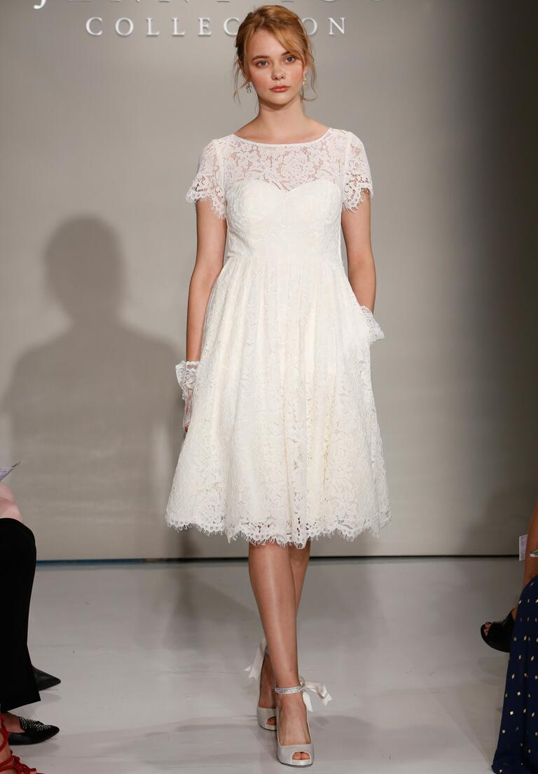 Jenny Yoo Fall 2016 tea length wedding dress with sheer lace neck and short sleeves and sheer details on bodice and skirt