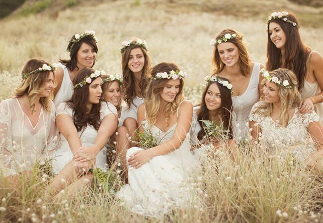 Bridesmaids wearing flower crowns: Perpectives Photo + Cinema / TheKnot.com