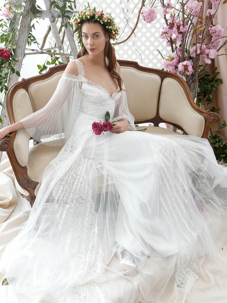 Marchesa Notte Bridal Spring 2018 off-the-shoulder wedding gown with sunburst pleating