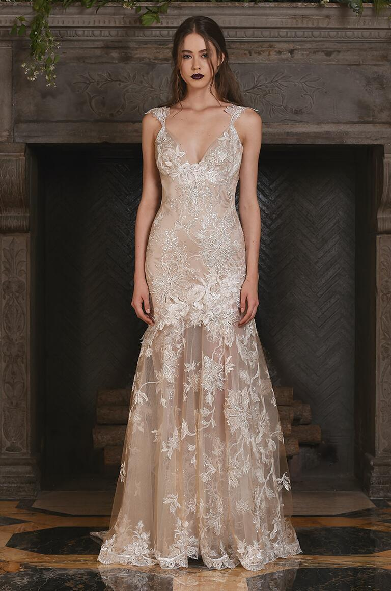 Claire Pettibone champagne wedding dress with metallic floral details for Fall 2017