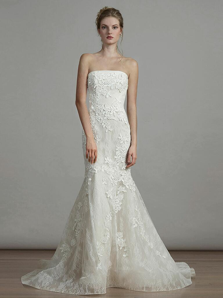 Liancarlo Spring 2018 strapless fit and flare wedding dress with floral appliqué