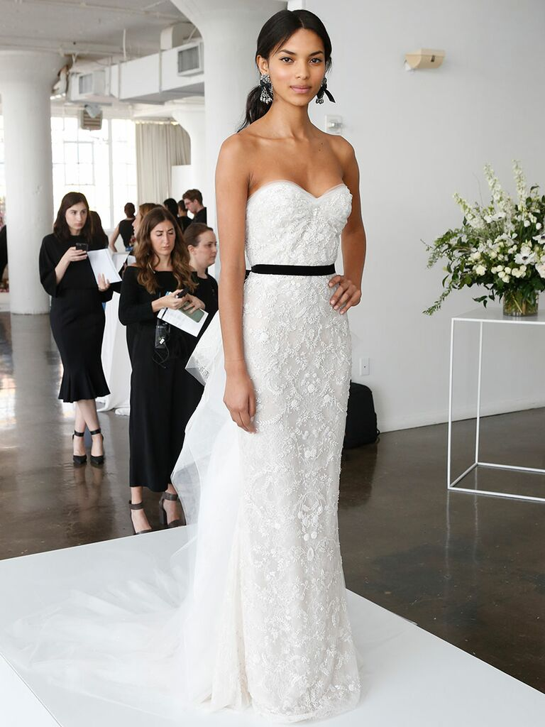 24e324f2b7f Marchesa Spring 2018 wedding gown with strapless sweetheart neckline and  black sash