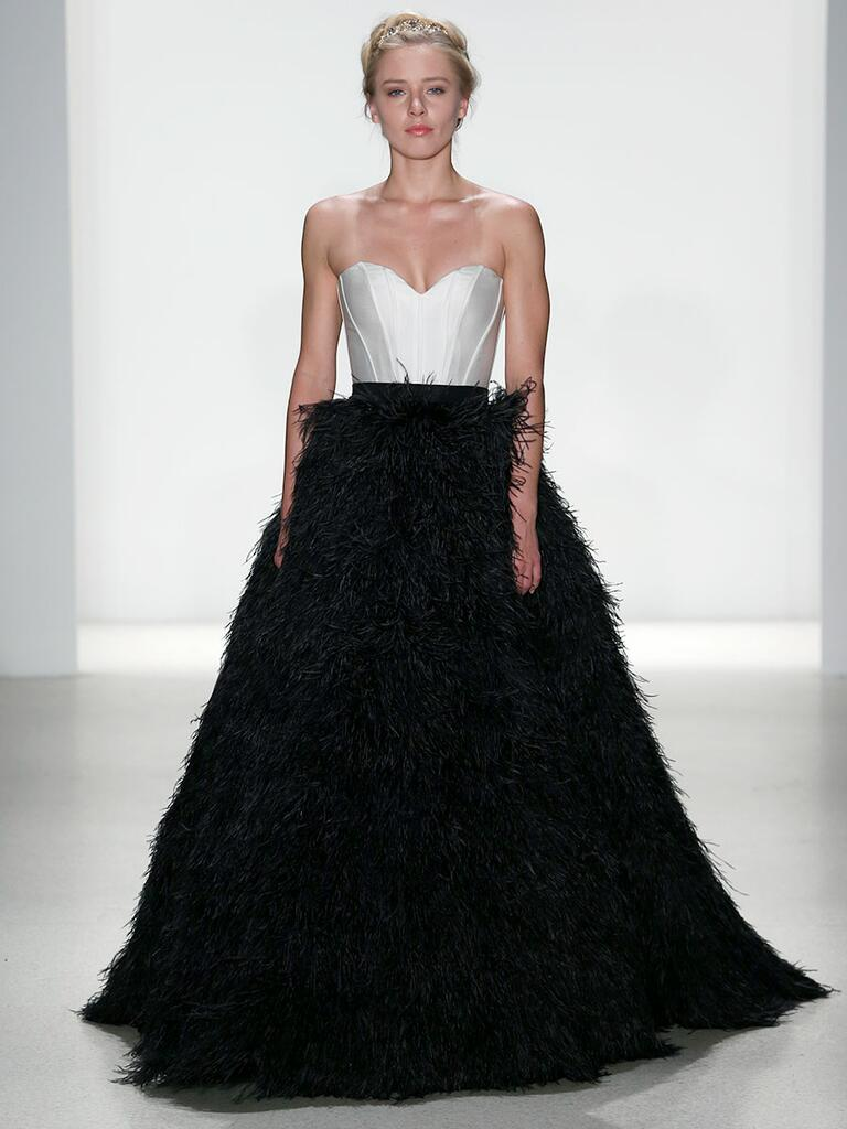 Kelly Faetanini Spring 2018 silk mikado seamed bodice with black ostrich feather ball gown skirt