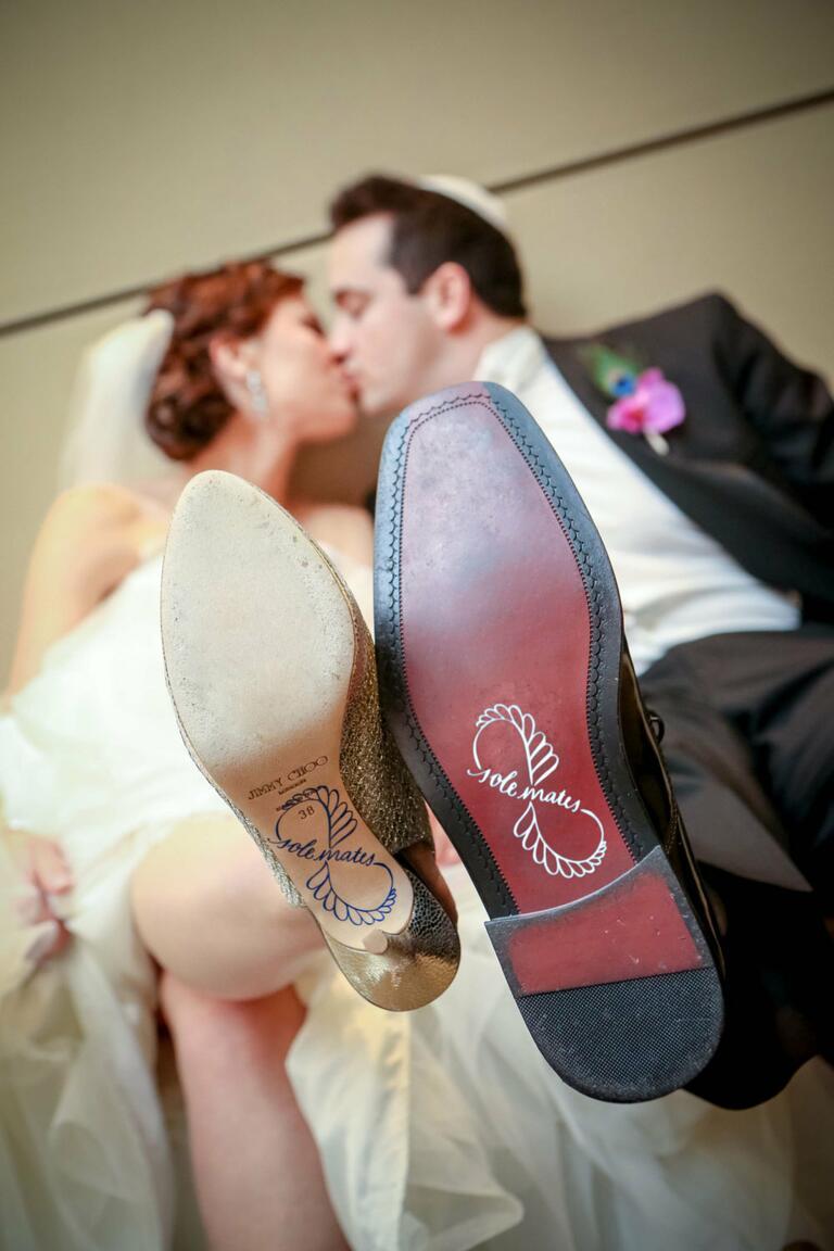 solemates bride and goom shoe decals