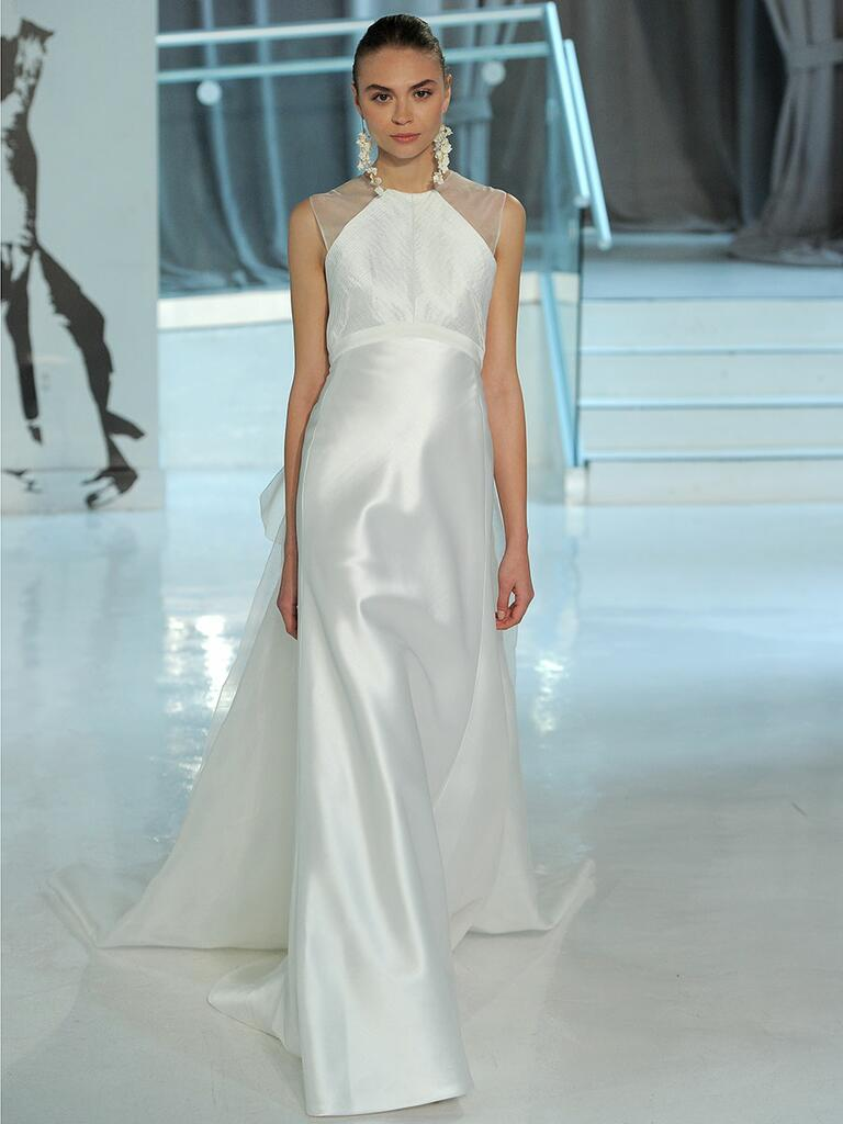 Peter Langner Spring 2018 column wedding dress with illusion cap sleeves