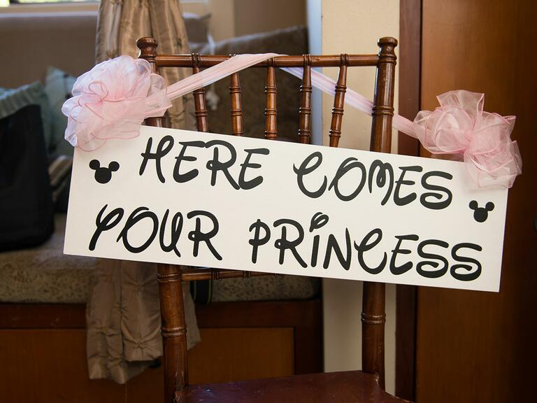 Disney wedding wedding aisle sign for a ring bearer