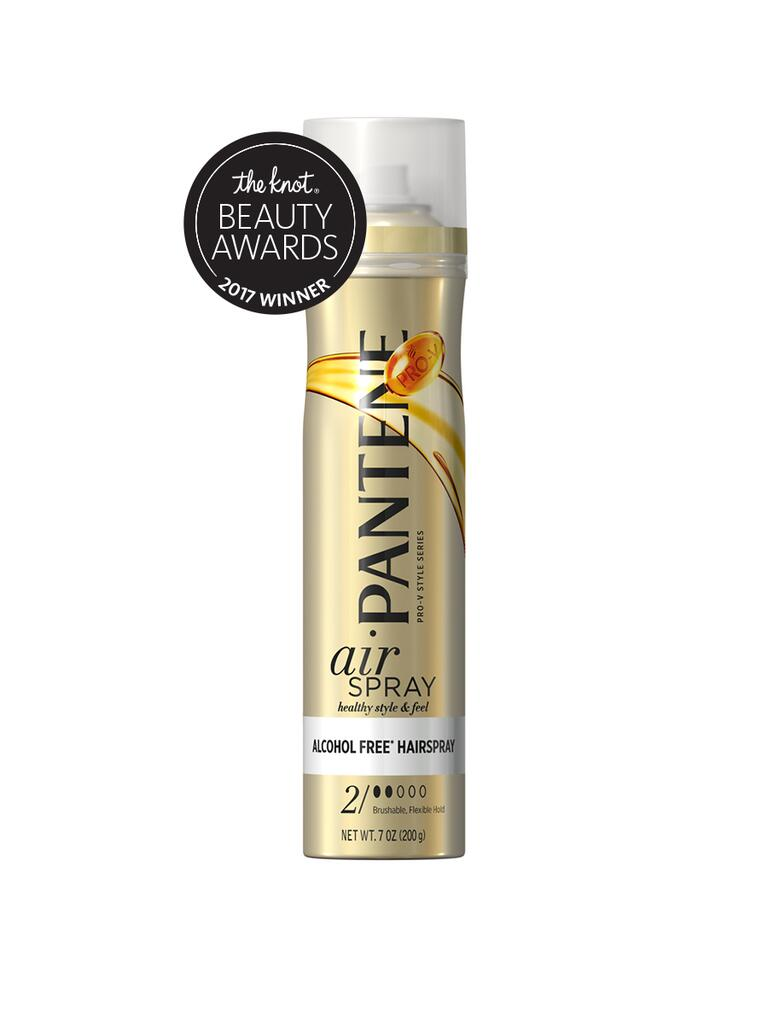 The Knot top pick for hairspray is the Pantene Airspray Flexible Hold hair spray