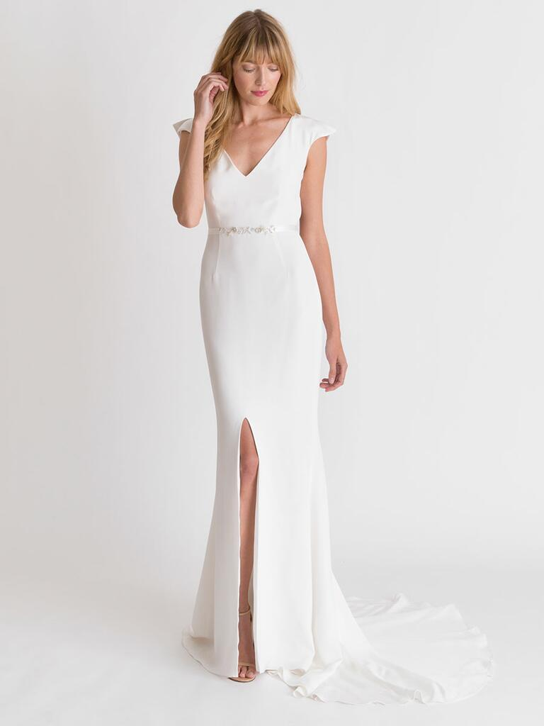 Alexandra Grecco Spring/Summer 2018 white cap sleeve wedding dress with natural waist and front slit