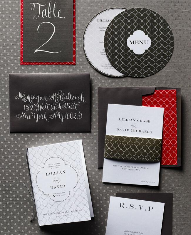 Black and red patterned invitation suite by Lindsay Landman Events and Night Owl Creativity | David Prince | blog.theknot.com