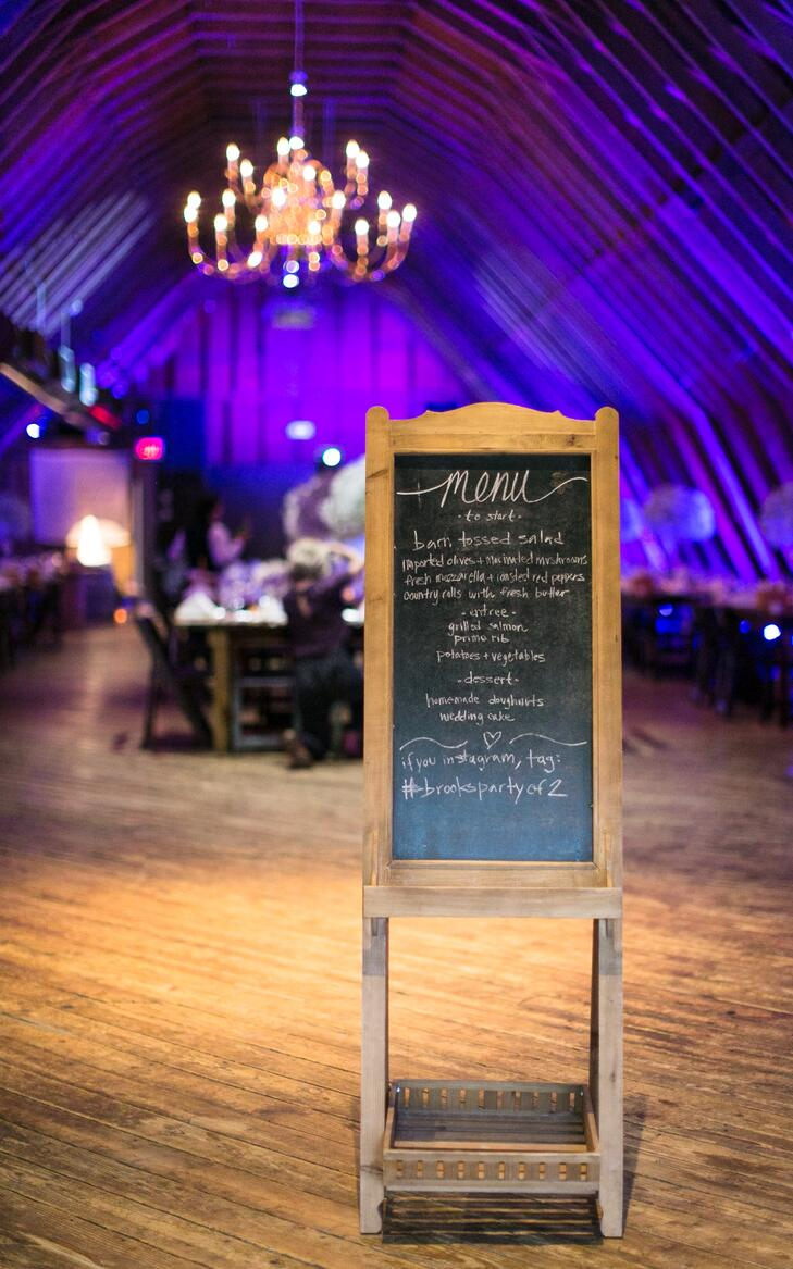 Wood chalkboard menu sign with hashtag