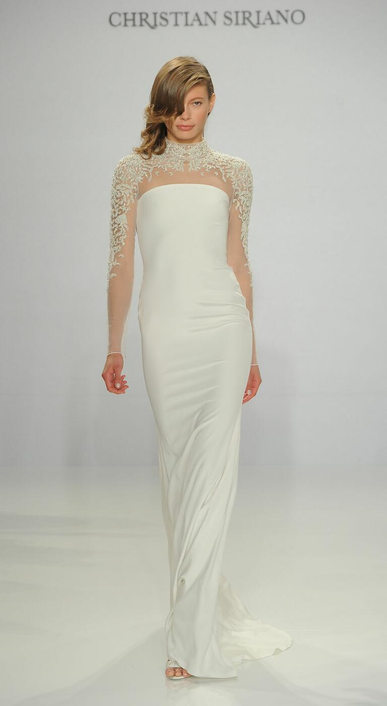 Christian Siriano Spring 2017 embroidered sleeve column wedding dress