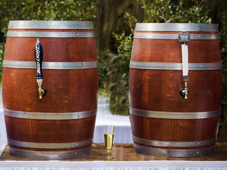 Kegs of beer at wedding reception