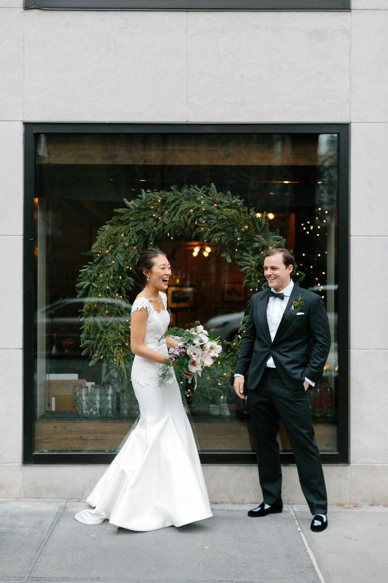 Couple doing a first look at their winter wedding