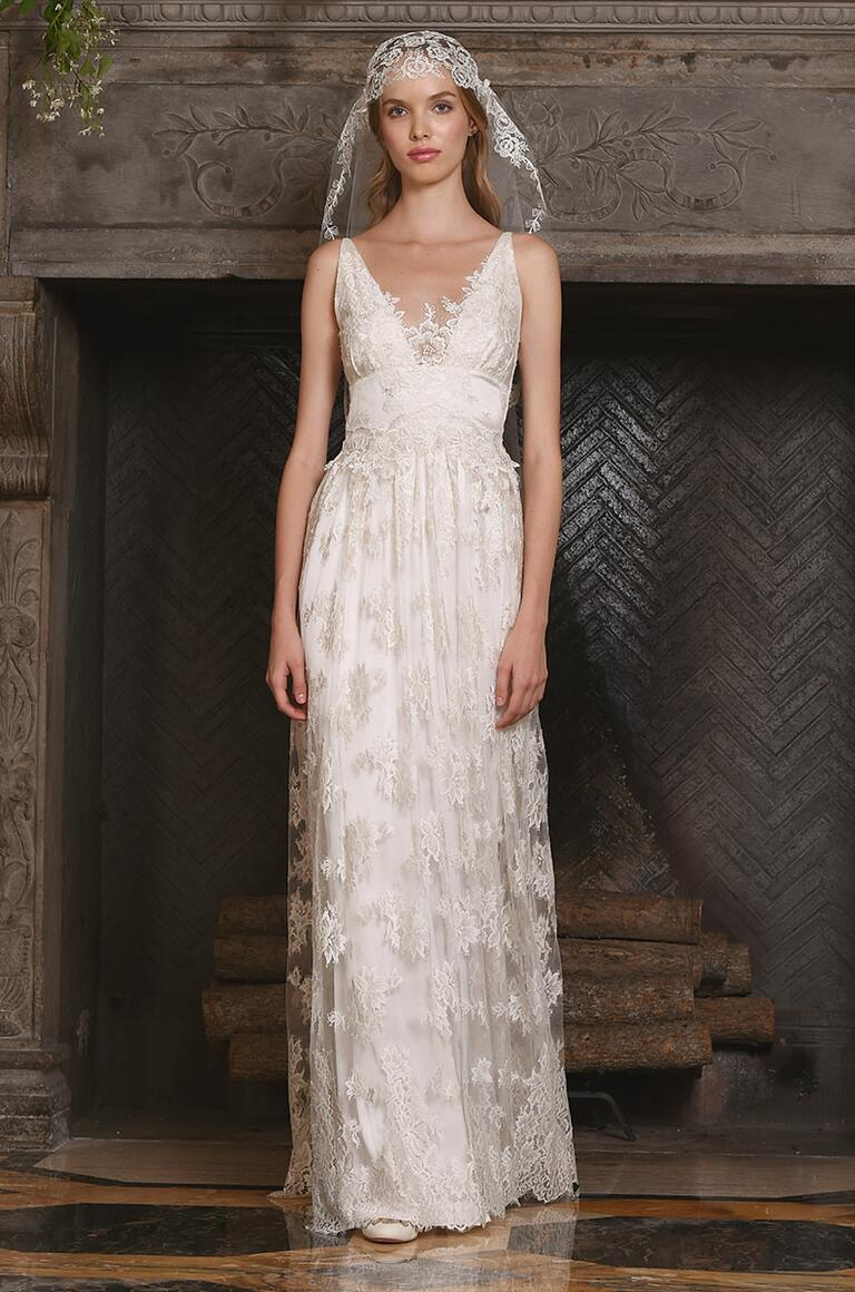 Claire Pettibone wedding dress with plunging neckline and lace detailing for Fall 2017