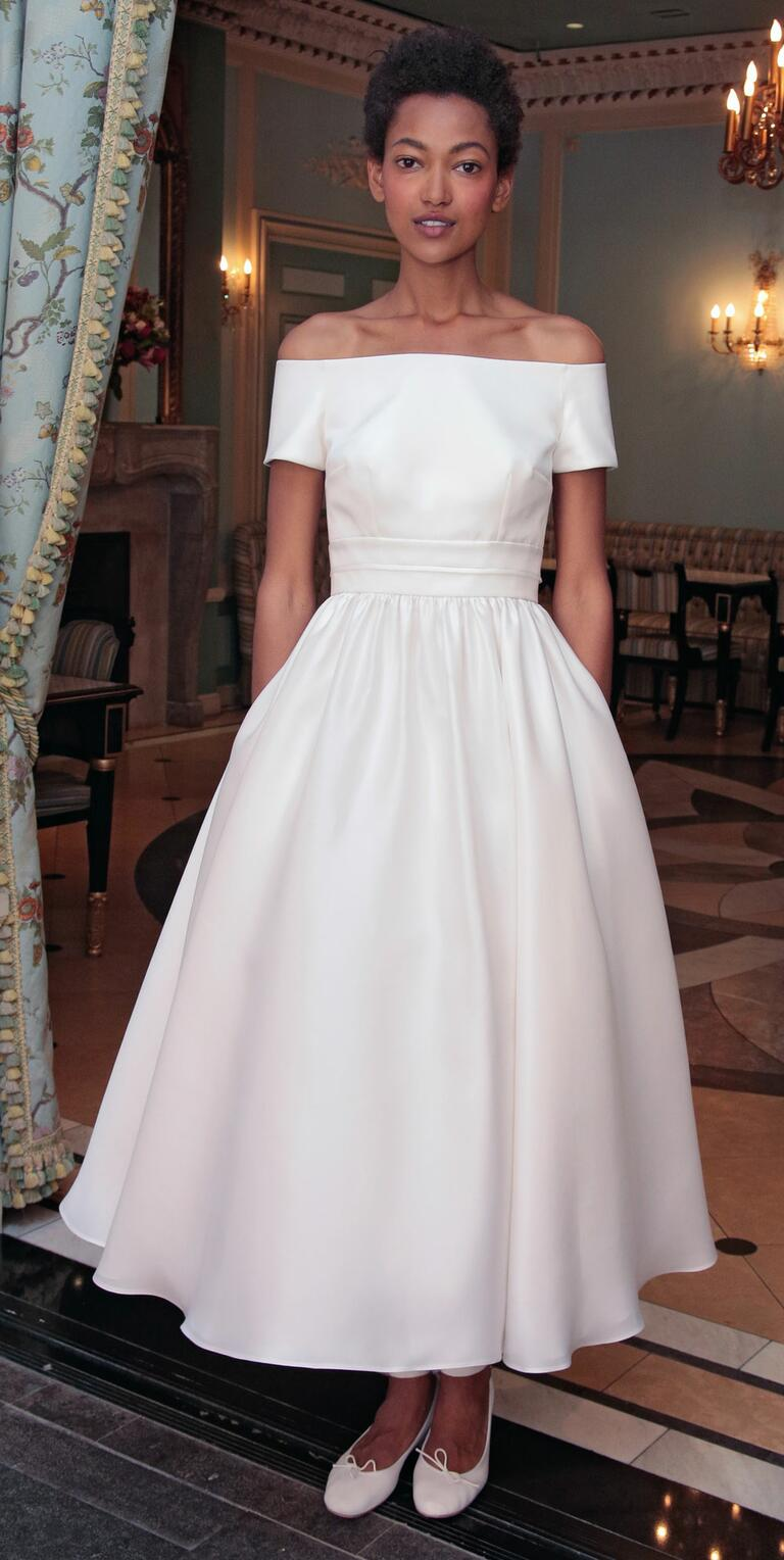 delphine manivet wedding dresses bridal fashion week spring flowy wedding dresses Delphine Manivet Spring off shoulder boat neck tea length wedding dress