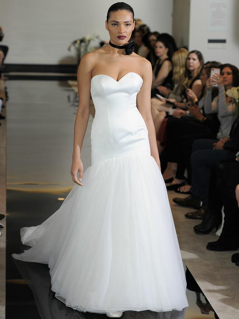 Justin Alexander Spring 2018 satin drop waist fit and flare gowns its tulle skirt