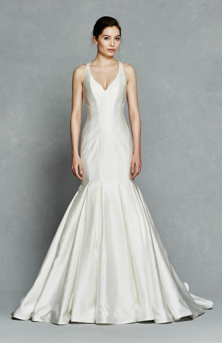 Kelly Faetanini Spring 2017 satin wedding dress with embellished straps