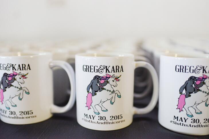 Coffee mug wedding favors with wedding hashtag