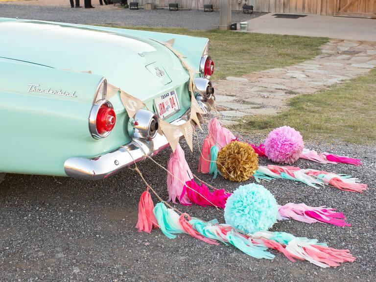 Baby blue vintage convertible getaway car