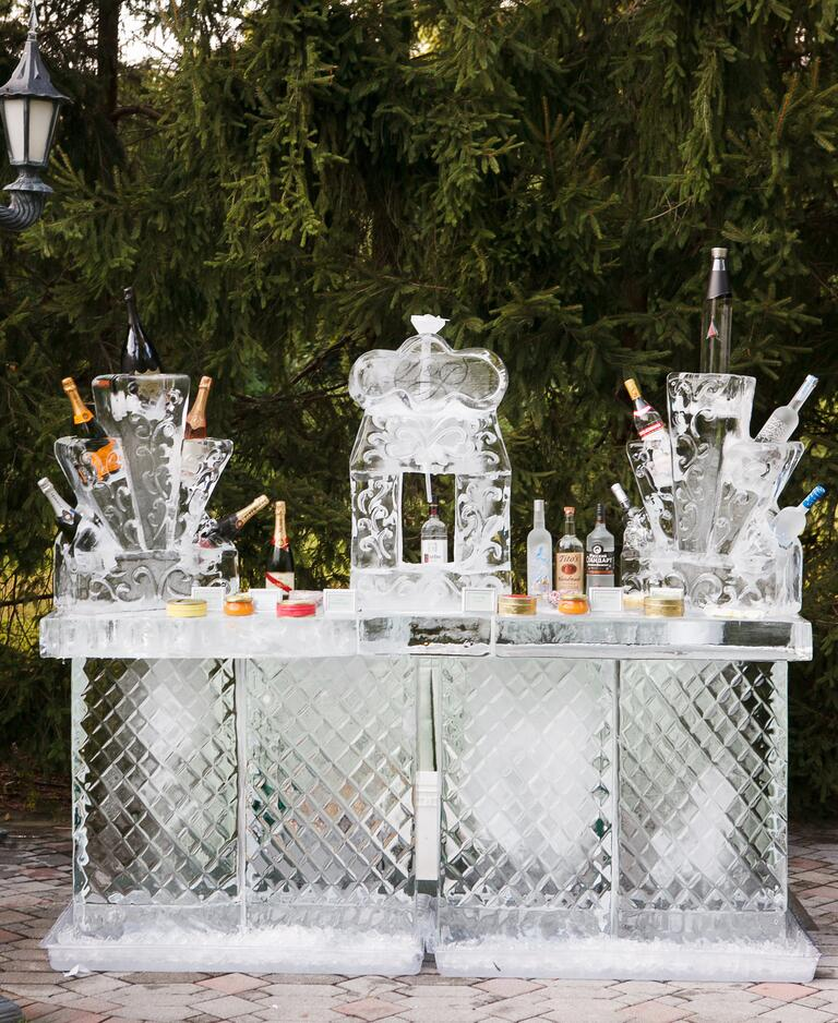 Ice bar and luge at wedding reception