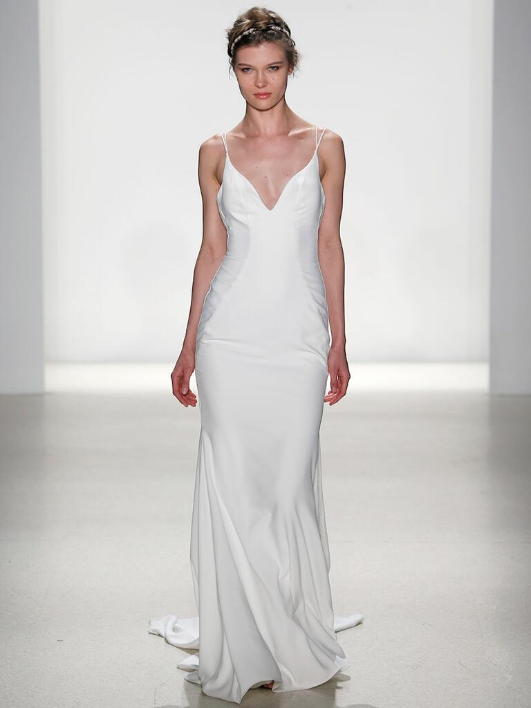 Kelly Faetanini Spring 2018 plunging neckline crepe fit to flare wedding dress