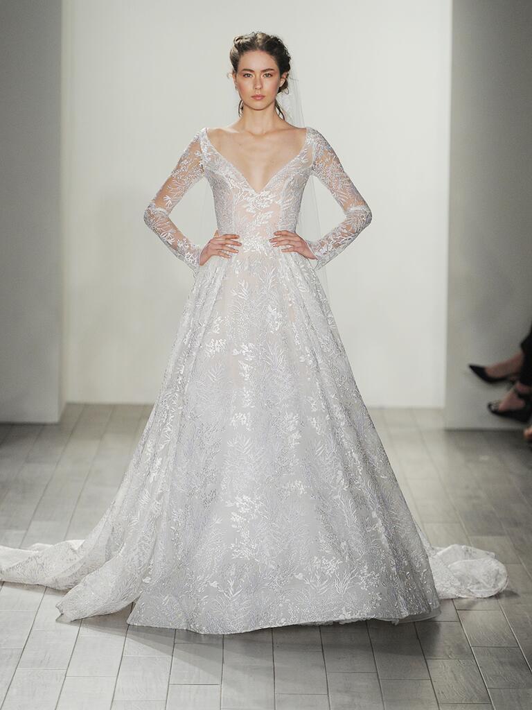 Lazaro fall 2017 collection bridal fashion week photos for Lazaro lace wedding dress