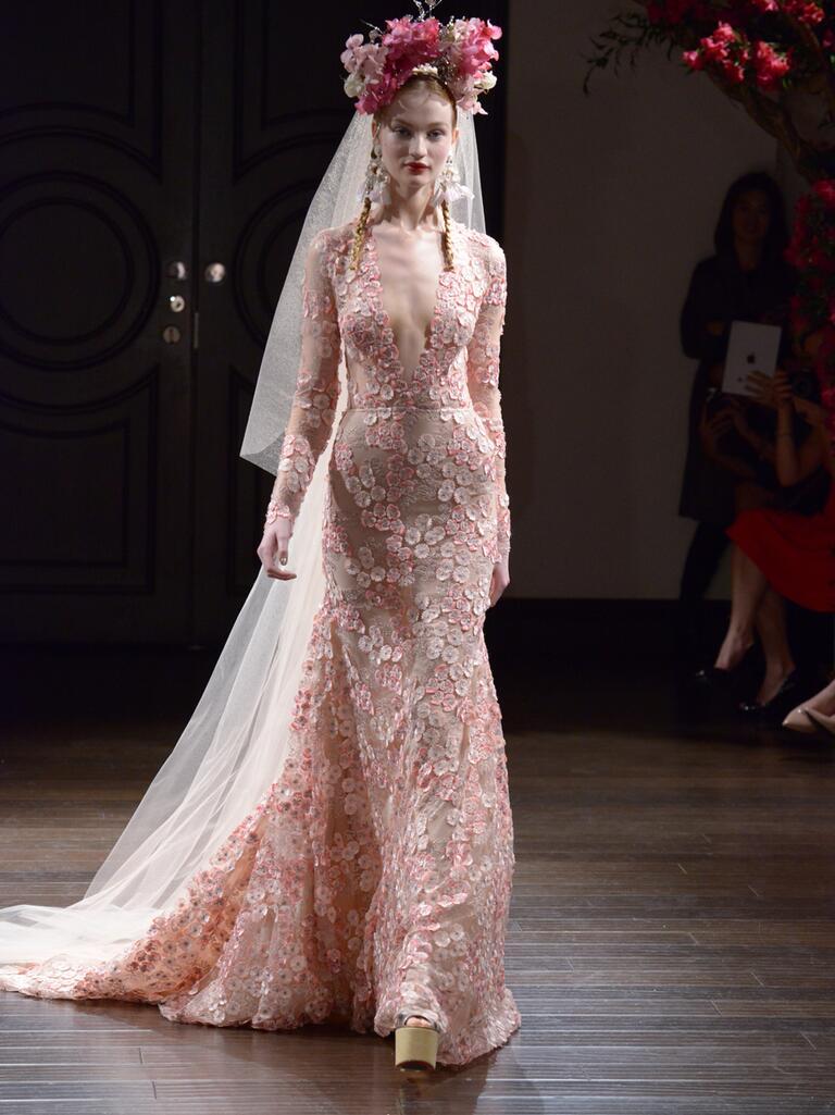 Naeem Khan Fall 2016 pink floral lace long sleeve wedding dress