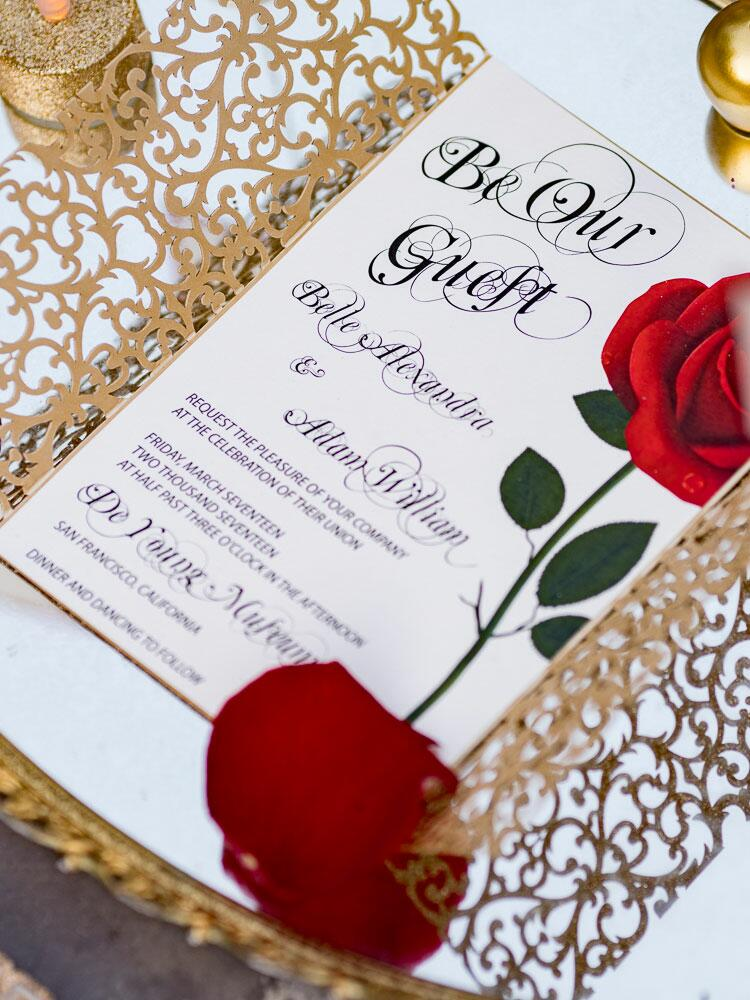 beauty and the beast' wedding photo shoot, Wedding invitations