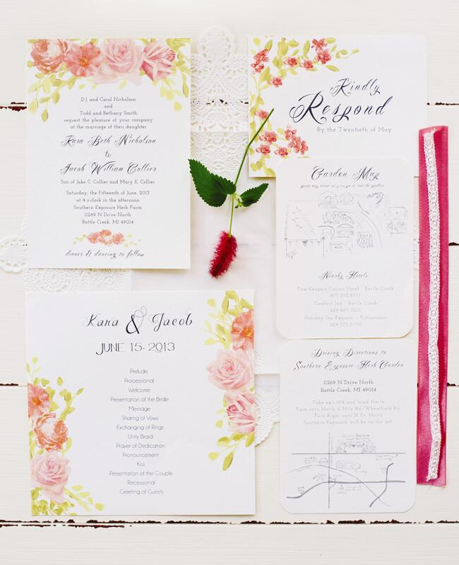 Painted Pink Roses Invitations  <img class=