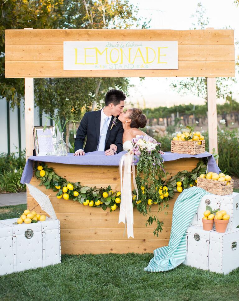 Lemonade stand at outdoor wedding reception