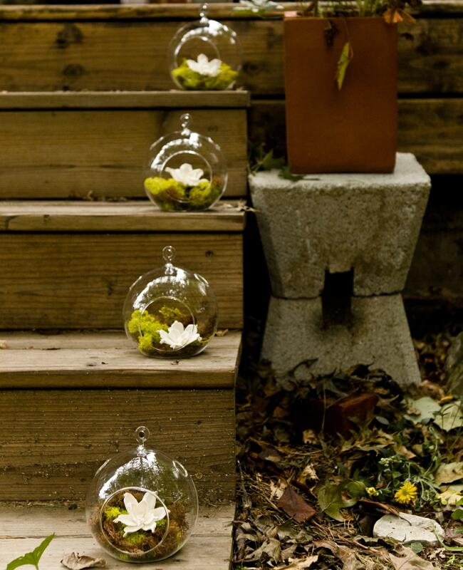 Hanging glass globe wedding decor: Spark Photography / TheKnot.com
