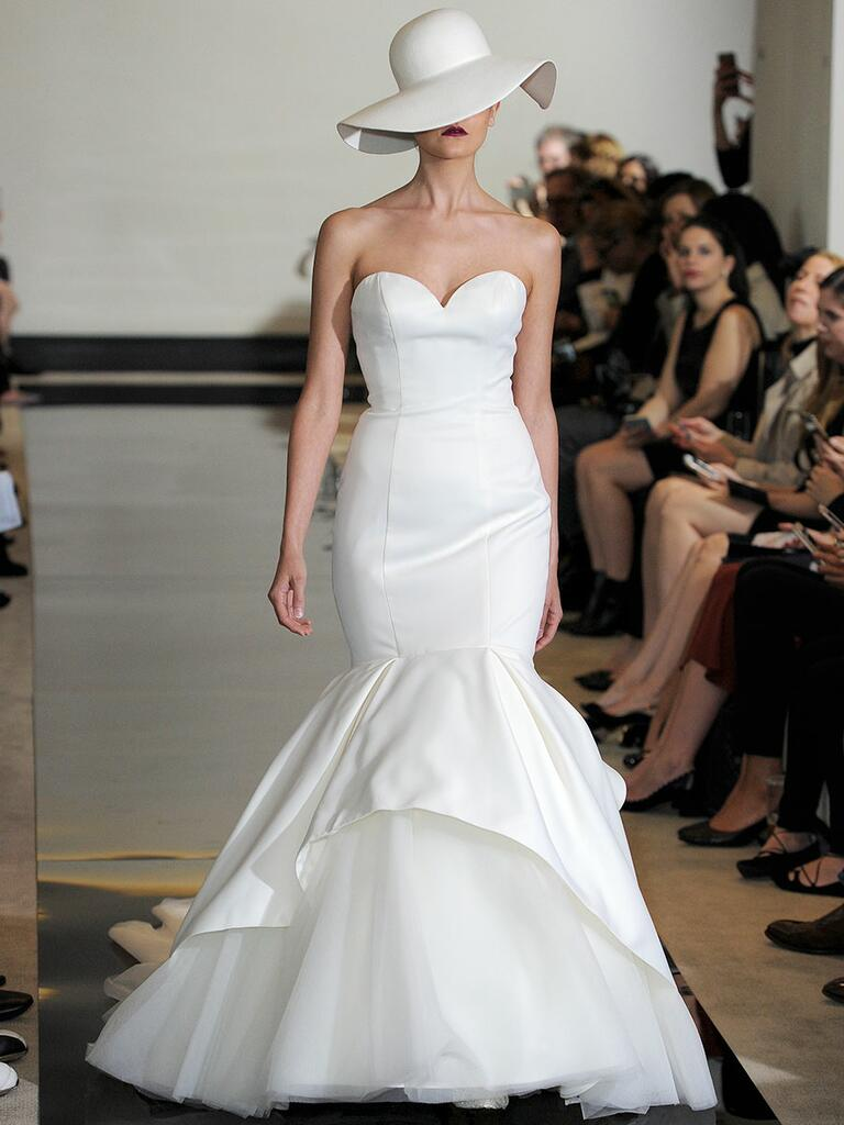 Justin Alexander Spring 2018 satin mermaid wedding dress with apron tulle and organza skirt