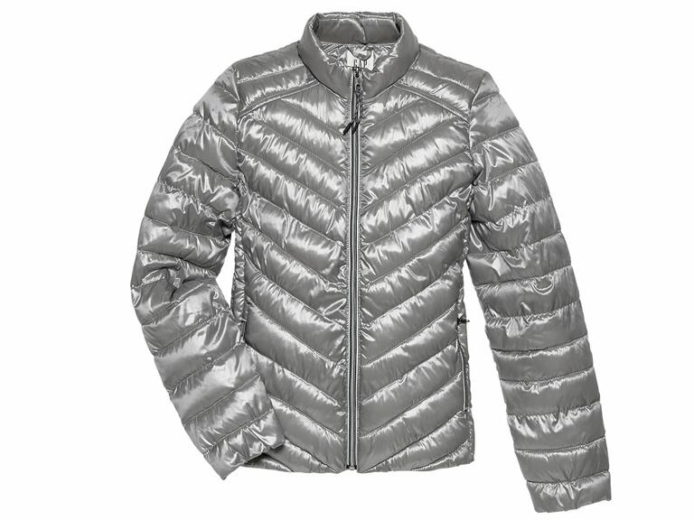 Metallic puffer coat for a winter weather honeymoon