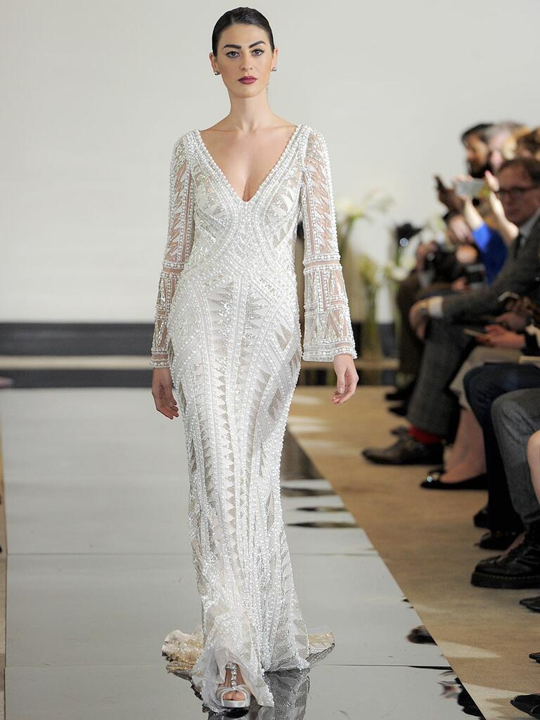 Justin Alexander Spring 2018 geometric pearl and bulge beaded wedding dress with bell sleeves