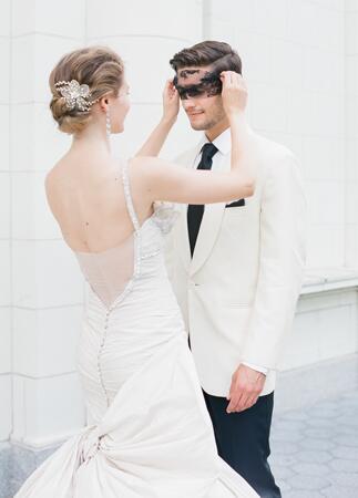 Ines Di Santo bow wedding dress | Corbin Gurkin | blog.theknot.com