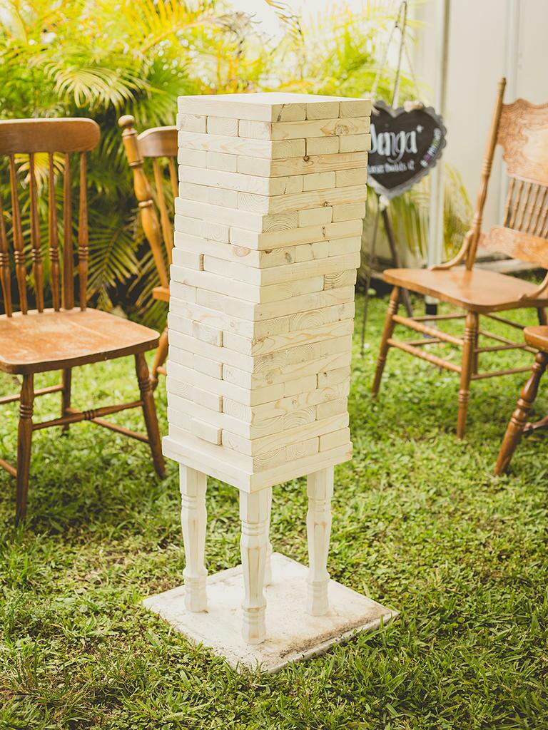 Giant Jenga lawn game for a fun cocktail hour idea