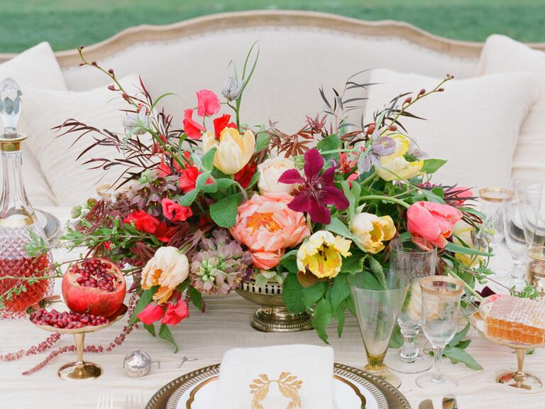 Pomegranate and honey floral centerpiece