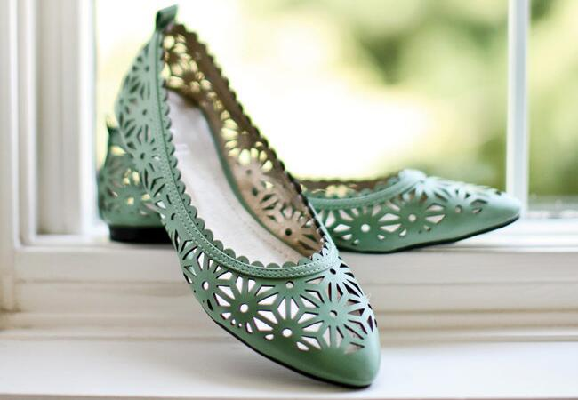 Green flats: First Comes Love Photo / TheKnot.com