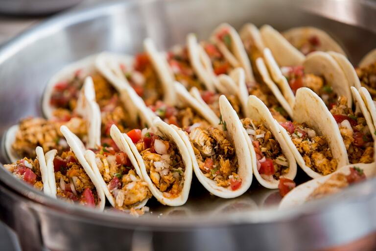Mini tacos passed wedding appetizers