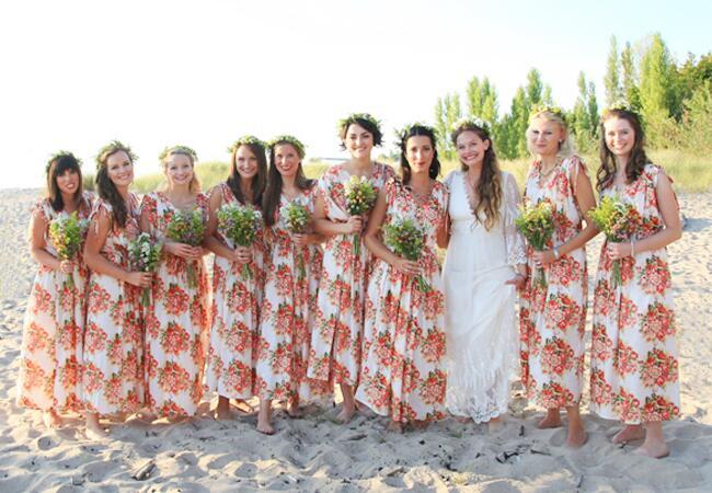 Bridesmaids wearing flower crowns: A Simple Photograph / TheKnot.com