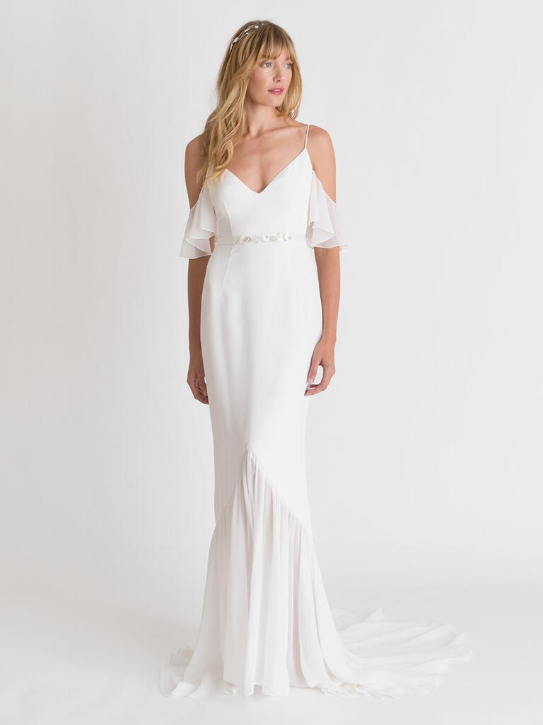 Alexandra Grecco Spring/Summer 2018 sheath wedding dress with flutter cold shoulders and sheer trumpet skirt